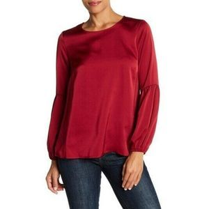 Bobeau burgandy long bubble sleeve satin top